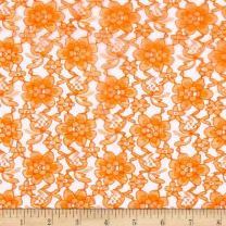 Ben Textiles Raschelle Lace Fabric, Orange, Fabric by the yard