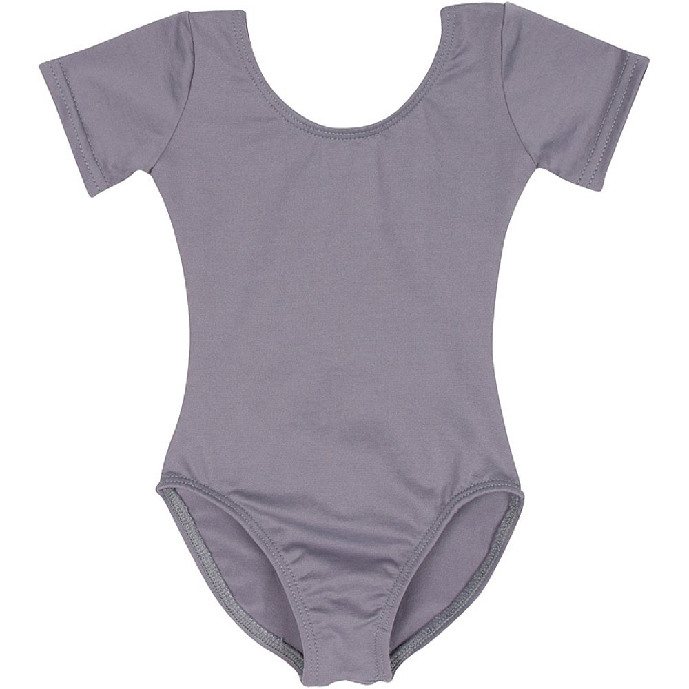 Leotard Boutique Classic Short Sleeve Leotard Toddlers & Girls (Gray, Medium)