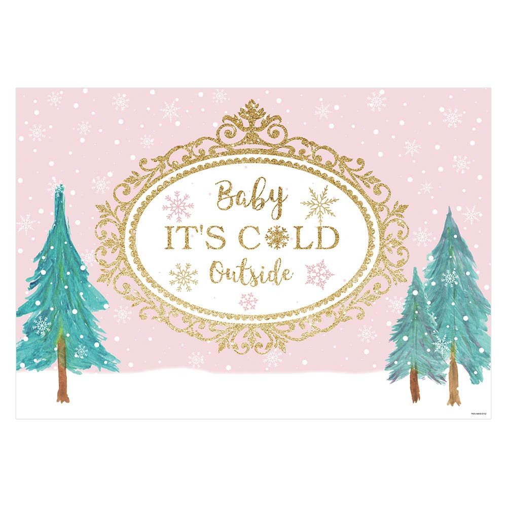 Funnytree 7x5FT Baby It's Cold Outside Photography Backdrop Pink Winter Wonderland Baby Shower Party Decoration Snowflake Background Photo Booth
