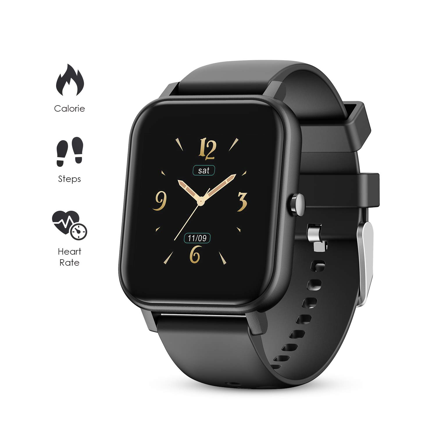 GOKOO Smart Watch for Men Sport Activity Tracker Sleep and All-Day Heart Rate Monitor Blood Pressure Camera Music Remote Control Weather Full Touch Waterproof IP67 Smartwatch Pedometer Calorie Black