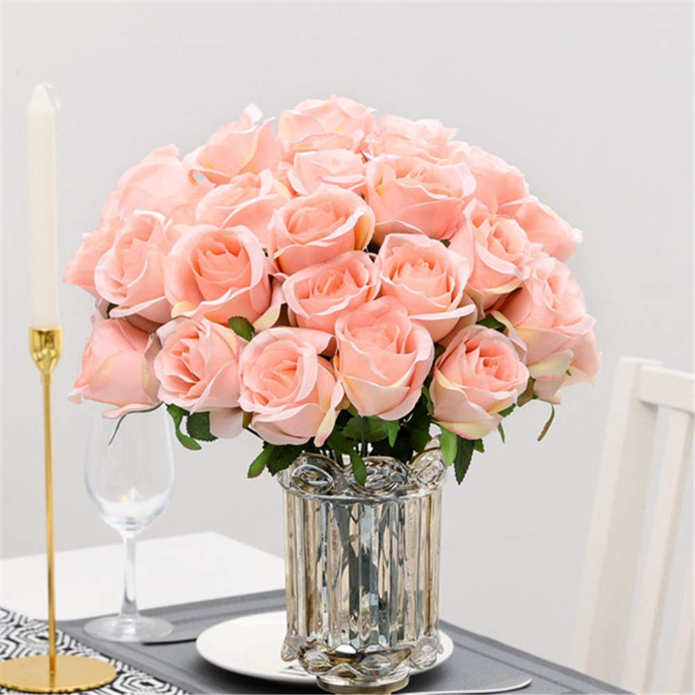 FuleHouzz 2 Bundles 24 Heads Artificial Rose Flower Bridal Bouquet Silk Rose Bulk for Wedding Home Valentine's Day Party Decor, Light Pink