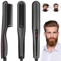 Beard Straightener for Men, Multifunctional Hair Straightening Brush with LED Display/Auto Shut Off/3 Heat Settings/Anti-scalding Comb Teeth/110-240V for Travel & Home By Duomishu