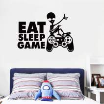 Gamer Wall Sticker - Eat Sleep Game - Gamer Controller Video Game Wall Decals for Boys Room Kids Bedroom Playroom Vinyl Wall Art Decals Decor