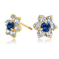 Tiny Delicate AAA CZ Flower Stud Earrings For Women For Teen 14K Gold Screwback Simulated Gemstones More Colors