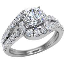Engagement Rings for women 14K Gold Diamond Rings Ocean Wave Style 1.25 carat t.w. (G, SI)