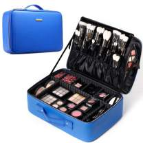 ROWNYEON Travel Makeup Train Case Makeup Bag Organizer Professional Portable Cosmetic Train Case Toiletry Travel Bag for Women PU Leather Gift for Girls Women EVA DIY Dividers Small Blue