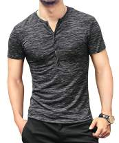 NEOYOWO Men's Henley Shirt Casual Slim Fit Long Sleeve T-Shirt Soft V Neck Buttons Muscle Tops
