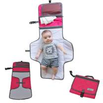 Cozy Baby's On-The-Go Diaper Changing Pad/Station/Mat - Waterproof Padded Diaper Changing Station/Mat with Storage Makes Messy Change Time a Breeze for Busy Moms (Pink Cheer)
