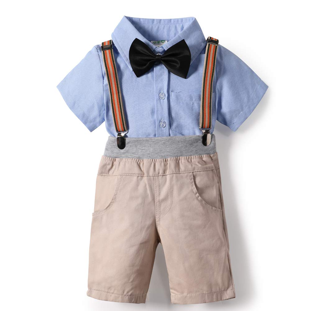 Baby Boys Gentlemen Suit Outfits Wedding Suit Clothes Set Bowtie Cotton Summer