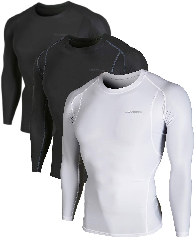 DEVOPS Men's 2~3 Pack Cool Dry Athletic Compression Long Sleeve Baselayer Workout T-Shirts