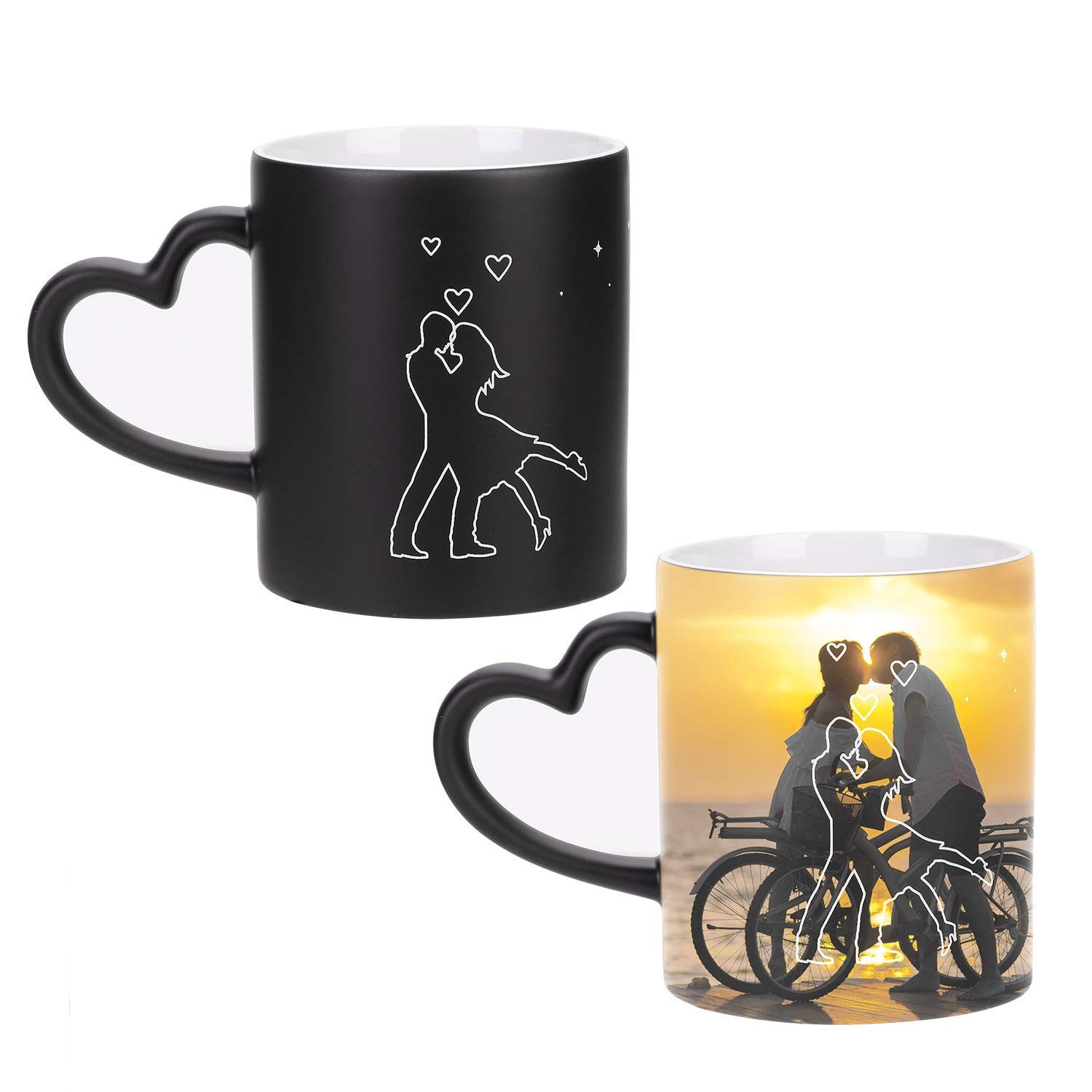 Personalized Coffee Mugs Custom Color Changing Photo Mugs Customized DIY Add Photo Picture Text Print Hot Heat Sensitive Cup Ceramic Custom Mug Families Friends Birthday Christmas Surprise