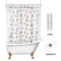 Riyidecor Ocean Starfish 180x70 Shower Curtain Set with Magnets All Around Clawfoot Tub Bathroom Decor Panel PEVA Vinyl Extra Wide 32 Pack Metal Shower Hooks