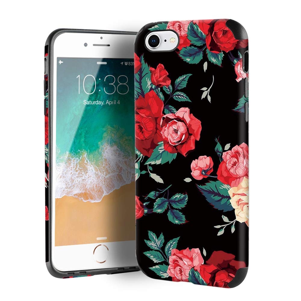 CUSTYPE Case for iPhone se, iPhone 7 Case Floral for Girls & Women, Floral Series Red Rose Flower Pattern Design PC Leather with TPU Bumper Slim Protective Cover for iPhone 8/ iPhone 7 (4.7'')