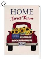 Farmhouse Sunflower Truck Small Garden Flag Vertical Double Sided 12.5 x 18 Inch Summer Fall Burlap Yard Outdoor Decor