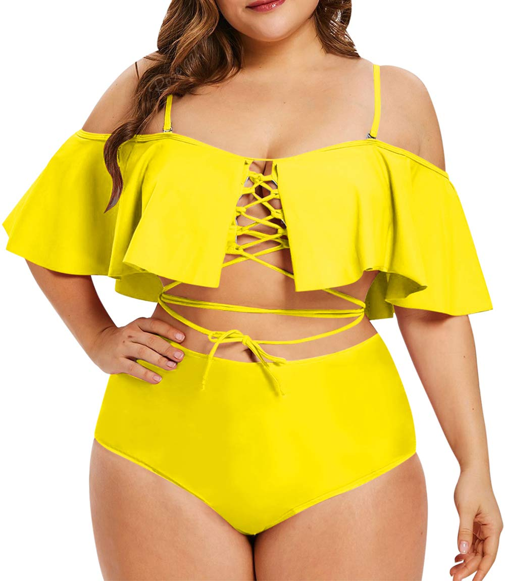 Kisscynest Women's Plus Size Swimwear 2 Piece Strappy Ruffle Bikini Swimsuit