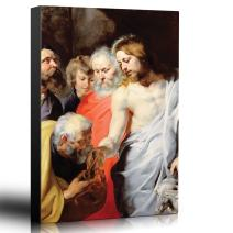 wall26 - Oil Painting of Christ's Charge to Peter by Peter Paul Rubens - Baroque Style - Jesus Christ, Catholic, Christianity - Canvas Art Home Decor - 12x18 inches