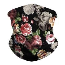 Unisex Floral Bandana Seamless Neck Gaiter Scarf Multifunctional Sports Headwear Women Men Sun UV Balaclava for Dust, Outdoor