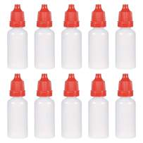 uxcell Plastic Dropper Bottles, 15ml/0.5 oz Empty Squeezable Liquid Dropper Bottle with Childproof Cap, Red, Pack of 30
