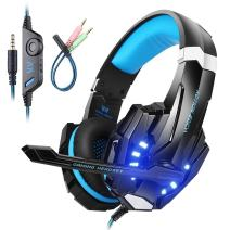 Mengshen Gaming Headset for PS4/ Xbox one/Xbox One S/PC/Mac/Laptop/Cell Phone - Gaming Headphone with Mic, LED Light, Bass Surround, Noise Cancelling, Soft Earmuffs, G9000 Blue