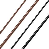"""Richsteel Men Women Black/Brown Braided Wax Rope Necklace 2/3mm Wide 16""""18"""" 20"""" 22"""" 24"""" 26"""" 28"""" 30"""" Length Leather Necklace with Stainless Steel Clasp Waterproof"""