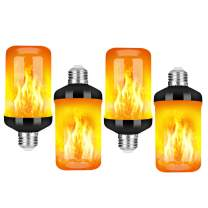 LED Flame Effect Fire Light Bulb - Upgraded 4 Modes Flickering Fire Christmas Lights Decorations - E26 Base Flame Bulb with Upside Down Effect (Black 4 Pack)