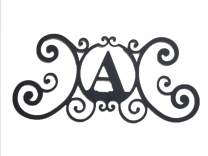 Bookishbunny Monogram Initial Letter A-Z Wrought Iron Metal Scrolled Door Wall Decoration Plaque Art, 24 x 11 inch 2mm Thick (A)