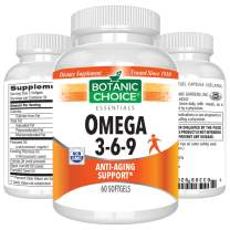 Botanic Choice Omega 3-6-9 - Essential Fatty Acids Soft Gels - Daily Supplement to Boost Brain, Heart, Joint and Immune Health 1000 mg 60 Pcs