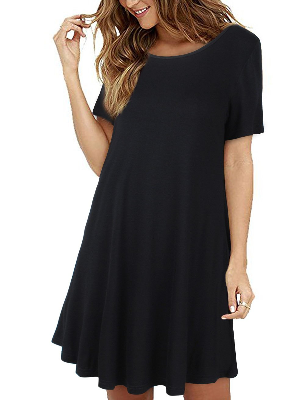 Faddare Womens Shirt Dress Short Sleeve, Teens Scoop Neck Basic Simple A-Line Tunic Dress, Black M