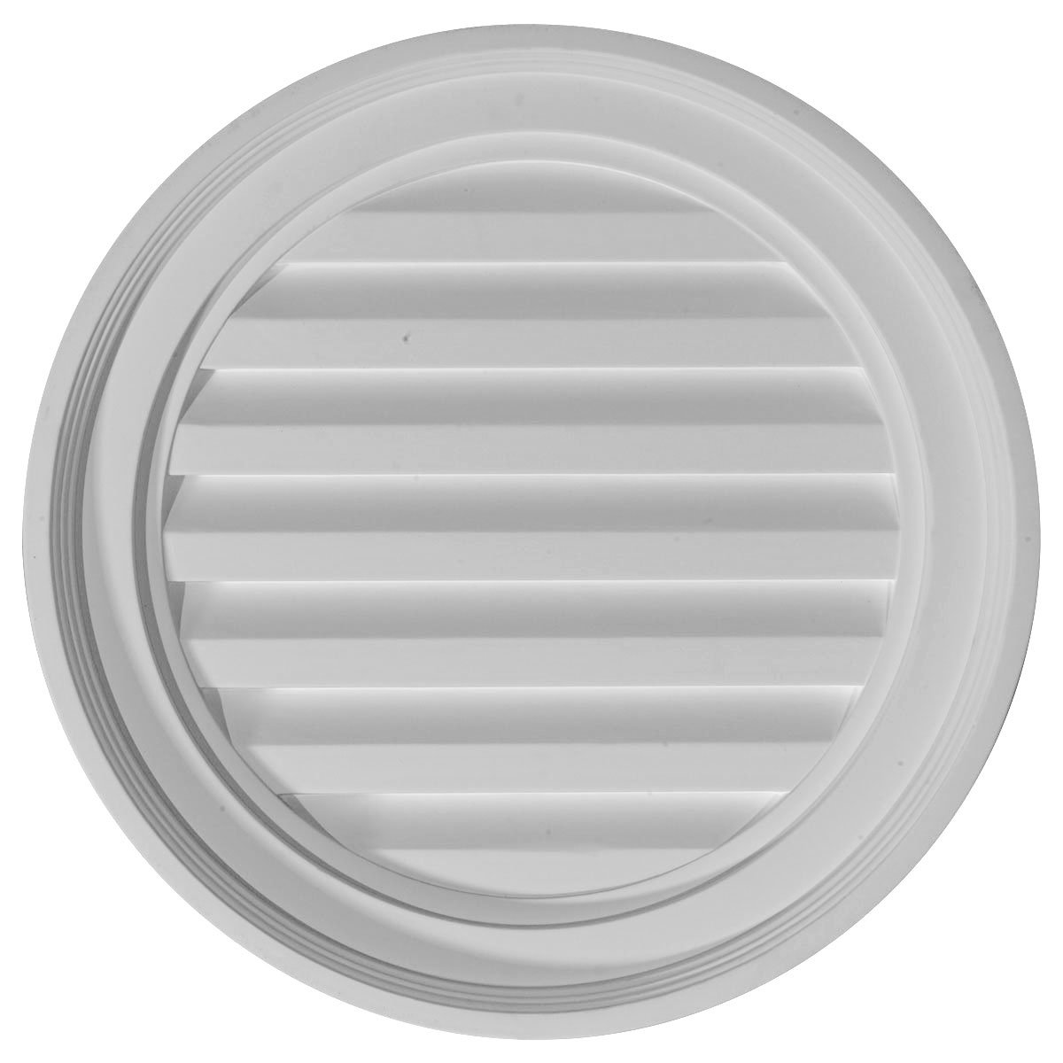 Ekena Millwork GVRO18F 18-Inch W x 18-Inch H x 1 1/8-Inch P Round Gable Vent Louver, Functional