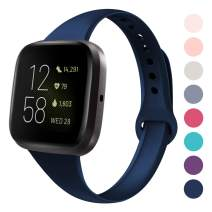 DYKEISS Sport Slim Silicone Band Compatible with Fitbit Versa/Versa Lite Edition, Thin Soft Narrow Silicone Replacement Strap Wristband Accessory for Fitbit Versa Smart Watch (Small, Navy Blue)