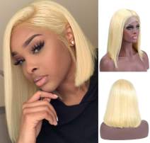 613 Blonde Lace Front Bob Wigs Short Human Hair Wig for Women Brazilian Real Remy Hair 13x6 Lace Frontal Bob Pre Plucked Bleached Knots Soft Silky Straight 180% Density Thicken Bleach Blonde 14 Inch