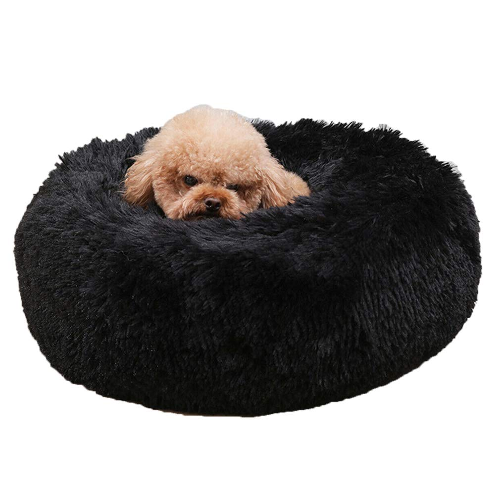 Pet Calming Bed Soft Plush Dog Cat Cushion with Cozy Sponge Non-Slip Bottom Machine Washable