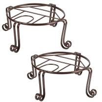 Tinland Plant Stand Metal Flower Pot Holder Indoor Outdoor Rustproof Rack for Tall Heavy Potted Plants 11.8inx 5in Bronze Brown (2 Pack)