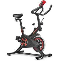 GYMAX Indoor Cycling Bike, Adjustable Resistance Stationary Exercise Bike with Heart Rate Sensor & LCD Monitor for Home/Gym Cardio Workout Fitness