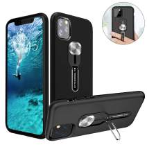 Shockproof Magnetic Phone Case for iPhone 11 Pro, TPU Hard Cover with Soft Adjustable Finger Strap + Kickstand, Compatible with Magnetic Car Mount, Lightweight Protective Case for iPhone 11 Pro 5.8""
