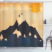 """Ambesonne Vintage Shower Curtain, Man on Mountaintop with Flag Snowy Winter Sun Clouds Adventure Sports, Cloth Fabric Bathroom Decor Set with Hooks, 84"""" Long Extra, Orange Mustard"""