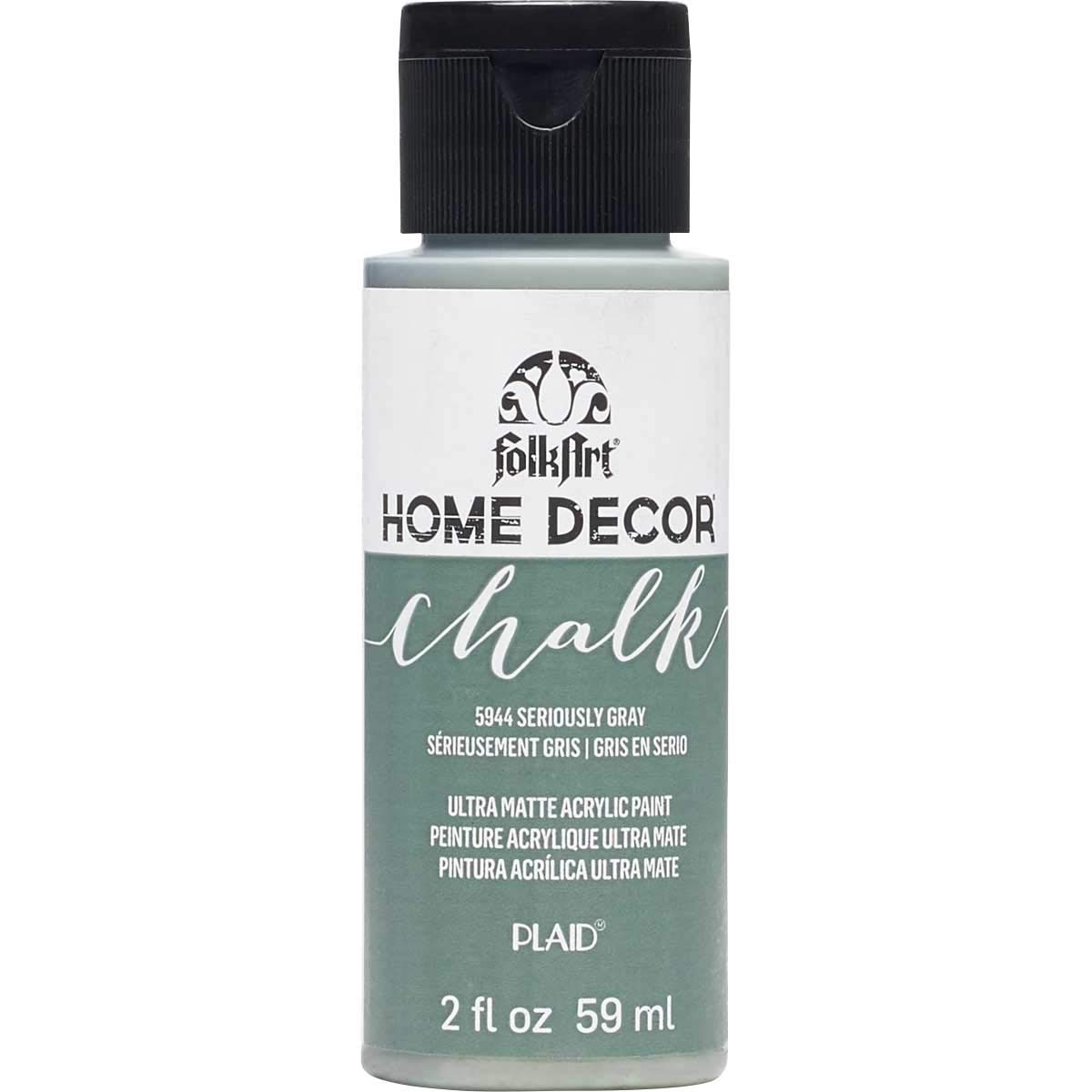 FolkArt 5944 Home Décor Chalk Furniture & Craft Paint in Assorted Colors, 2 oz, Seriously Gray