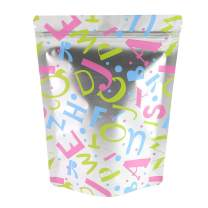 "QQ Studio 100 Matte Stand-Up Food Grade Design Storage Resealable Bags (3oz (5"" x 7""), Matte Silver & Multi-Color Alphabets Stand-Up Pouch)"