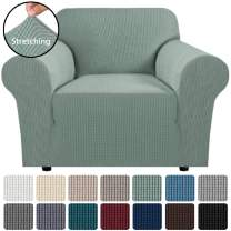 """H.VERSAILTEX 1 Piece Stretch Slip Covers/Protector Featuring Jacquard Textured Twill Fabric, High Spandex Slipcover Machine Washable/Skid Resistance (Armchair 32""""-48"""", Sage)"""