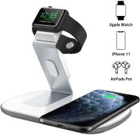 Dual 2 in 1 Wireless Charger, iWatch Charging Stand, Nightstand Mode for iWatch Series 5/4/3/2,7.5W Fast Charging for iPhone 11/11 Pro Max/XR/XS Max/Xs/X/8/8P/Airpods Pro/2(No iWatch Cable)