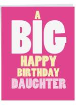 Big HB Daughter Birthday Stationery Notecard with Envelope (Large 8.5 x 11 Inch) - Stylish Bday Greeting Card for Her, Girls - Pink Appreciation Notecard, Birthday Gift J6348BDG