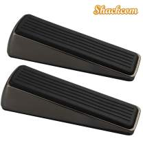 Shackcom Door Stopper 2 Pack, Heavy Duty Decorative Door Stop Wedge, Non Scratching Door Stops, Made of Rubber and Zinc Alloy, Easy to Insert, Suits Any Floor for Home and Office (Rifle Color)