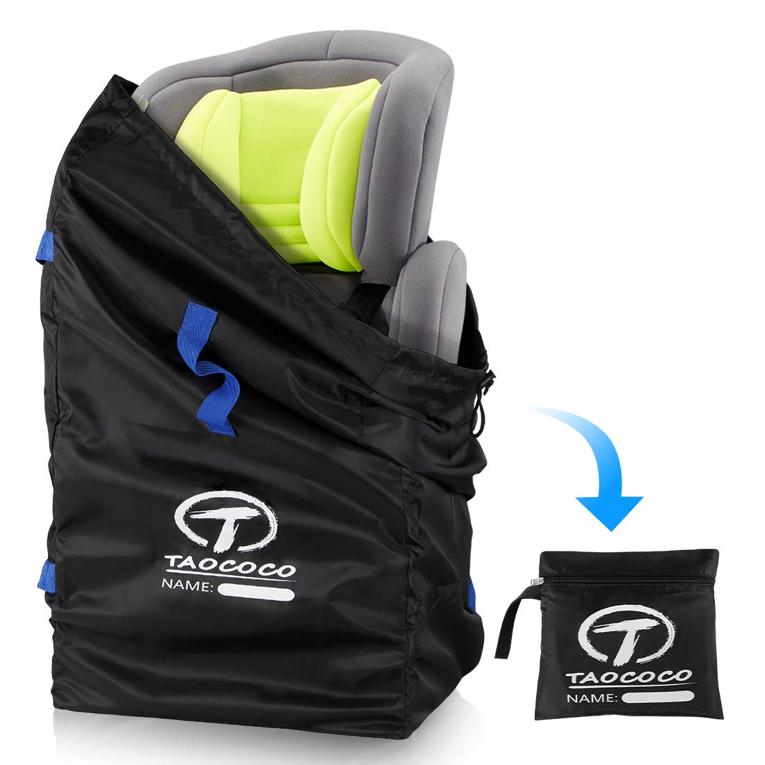 TAOCOCO Car Seat Travel Bag Backpack for Air Travel - Gate Check Bag for Family Travel with Baby, Airline Easy Carry Stroller Carseat Bag Childress Gate Check Bag for Car Seats