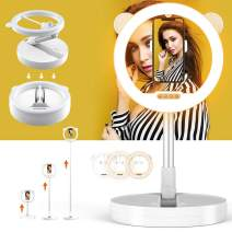 Zecti 10 inch Ring Light with Stand and Phone Holder, LED Selfie Light Ring with Dimmable 3 Color Modes and 10 Brightness for Live Stream Makeup Photography Compatible with iPhone Xs Android-White