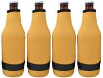 TahoeBay 12 Beer Bottle Sleeves - Easy-On Bottom Zipper - Extra Thick Neoprene Blank Drink Cooler (Gold, 12)
