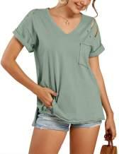 imesrun Womens Short Sleeve V Neck Summer Shirts Basic Tees Casual Blouses Top