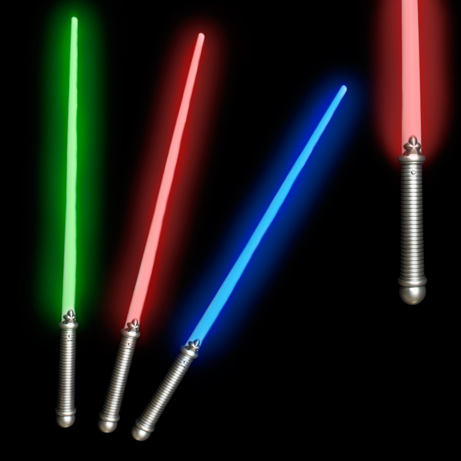 6 Pack - 28 Inches LED Glow in the Dark Light Saber Toy Party Favor for Kids and Toddlers - Assorted Colors