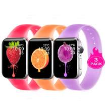 DOBSTFY Sport Bands Compatible for Watch Band 38mm 40mm 42mm 44mm, Translucent Unique Jelly Silicone Replacement Wristband Strap Women Men for Watch Series 5 4 3 2 1 All Version, 42mm 44mm M/L,Pack 3