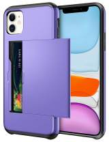 SAMONPOW Wallet Case for iPhone 11 Case with Card Holder Dual Layer Hybrid Shell Heavy Duty Protection Shockproof Anti Scratch Soft Rubber Bumper Cover Case for iPhone 11 6.1 inch Light Purple