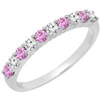Dazzlingrock Collection 10K Round Gemstone & White Diamond Ladies Stackable Anniversary Wedding Band, White Gold